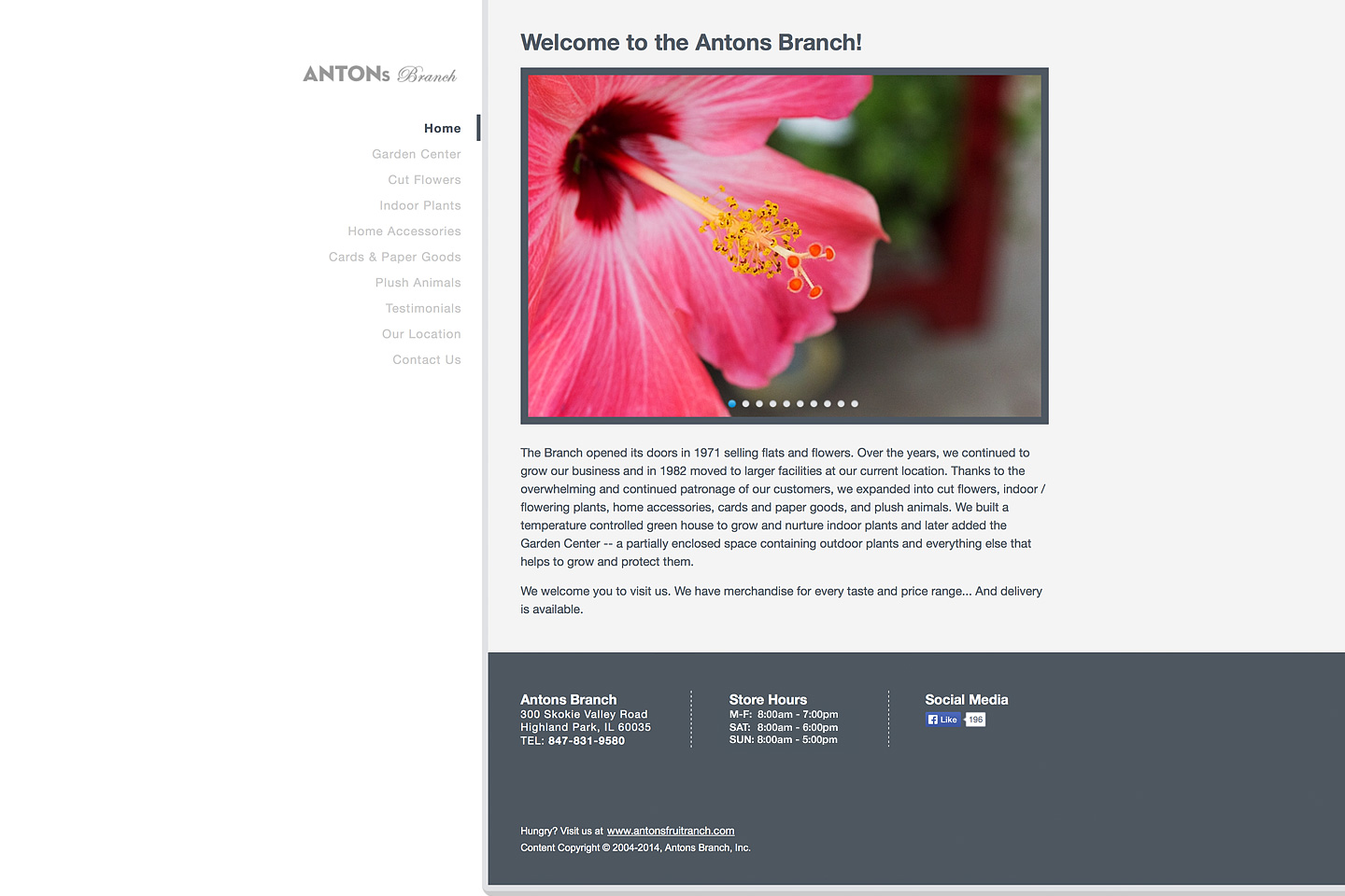 a screen capture of the homepage of the antons branch website, featuring a beautiful pink hibiscus flower