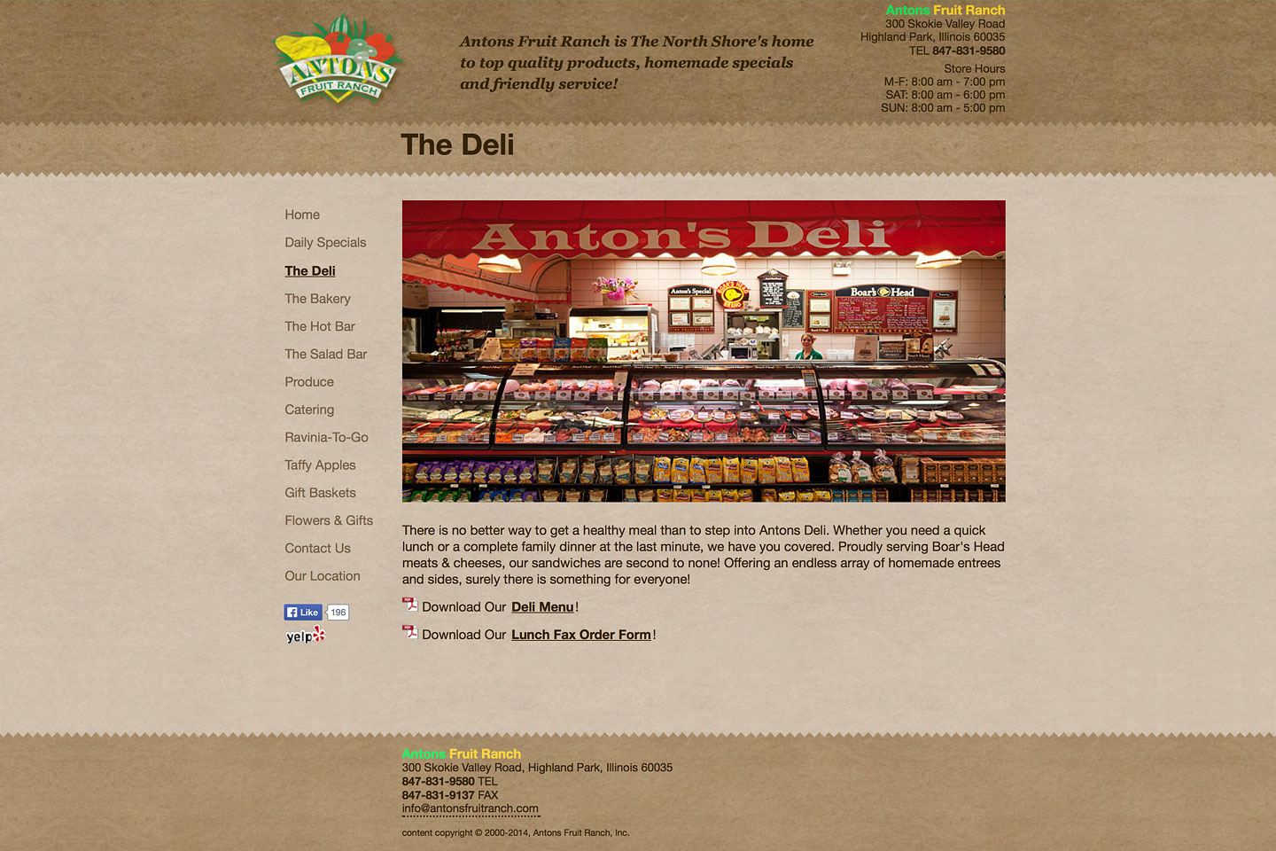 a screen capture of the deli page, featuring a wide angle photo of the fully stocked antons fruit ranch deli department display