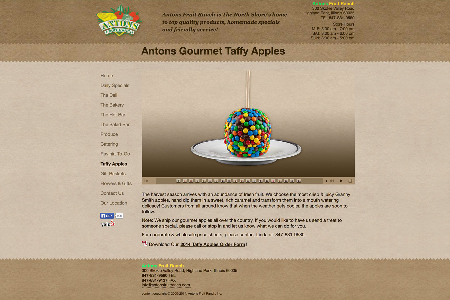 a screen capture of the antons gourmet taffy apple page, featuring a delicious m&m taffy apple