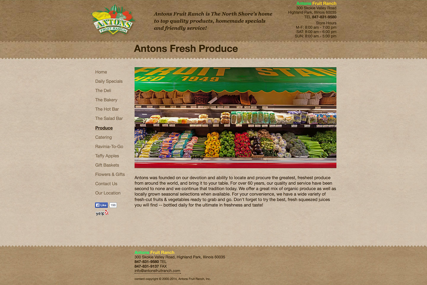 a screen capture of the fresh produce web page, featuring a wide angle photo of one of the produce counters at antons fruit ranch