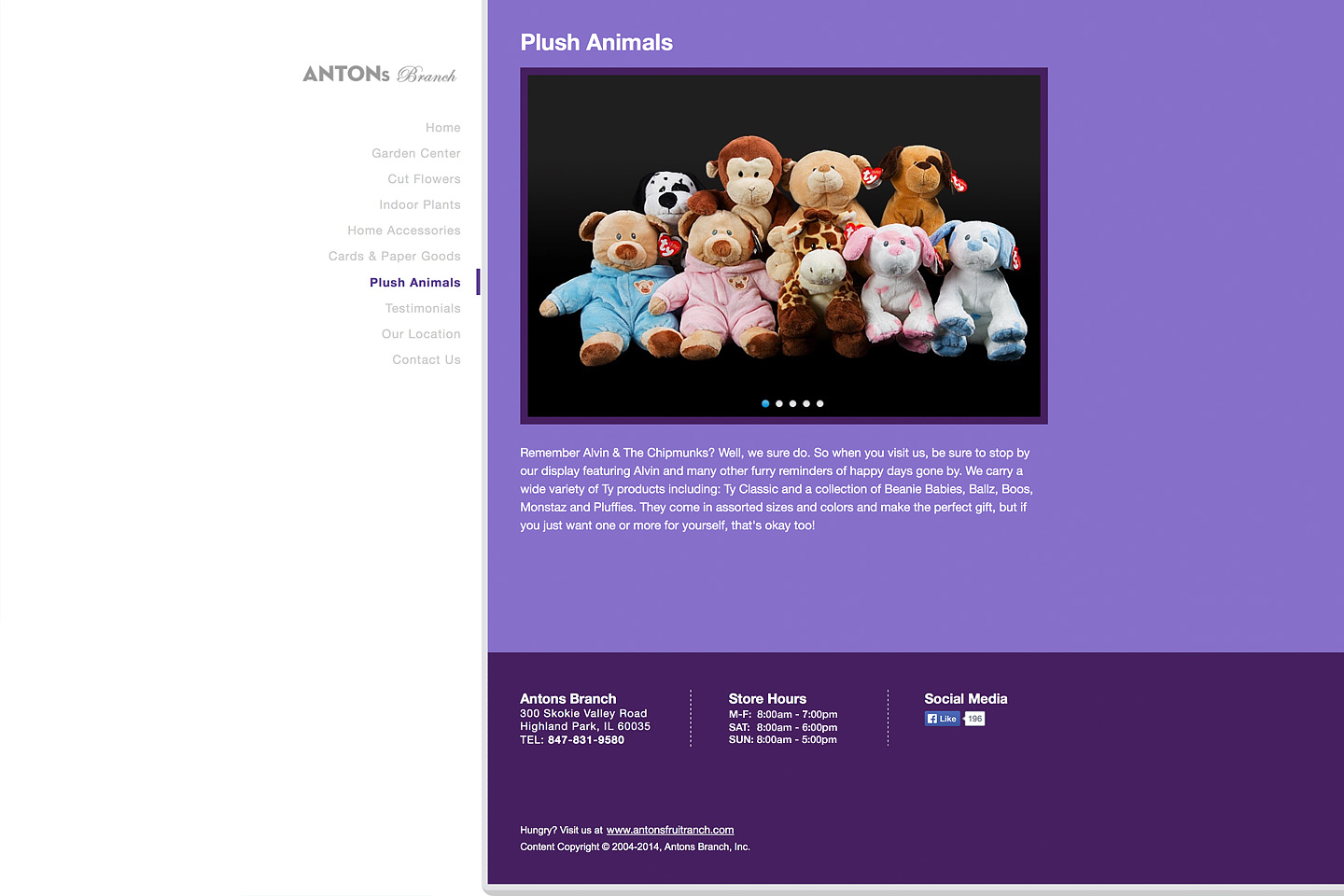 a screen capture of the plush animals page, featuring an arrangement of ty beanie babies for sale at the antons branch