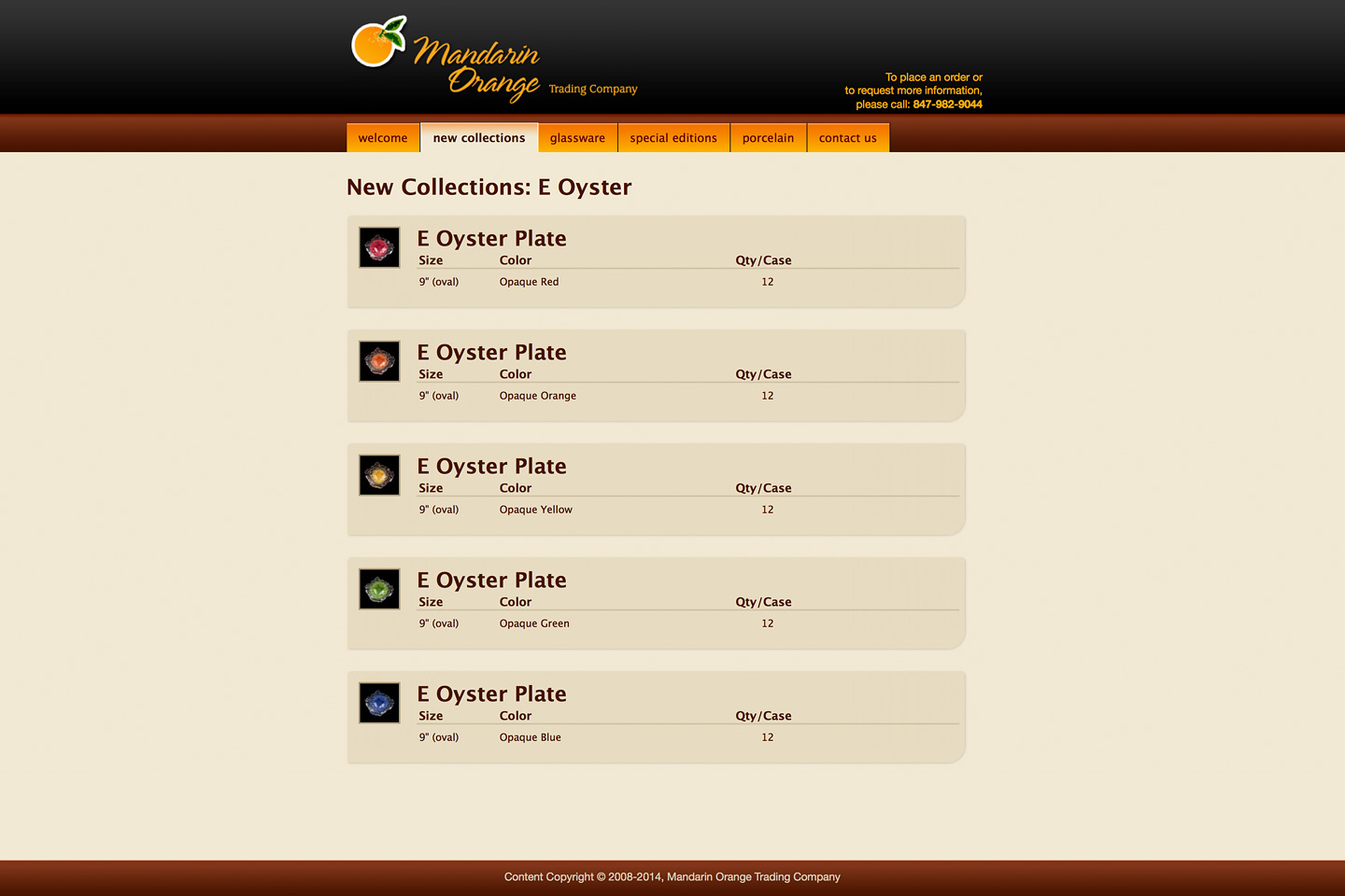 a screen capture of the mandarin orange trading company oyster plate landing page, featuring thumbnails of all oyster plates and their available colors