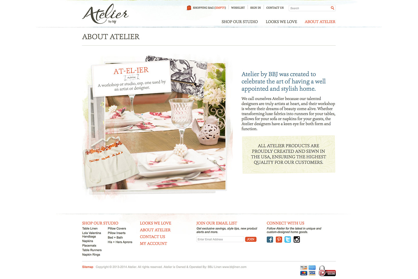 a screen capture of the atelier by bbj about us page