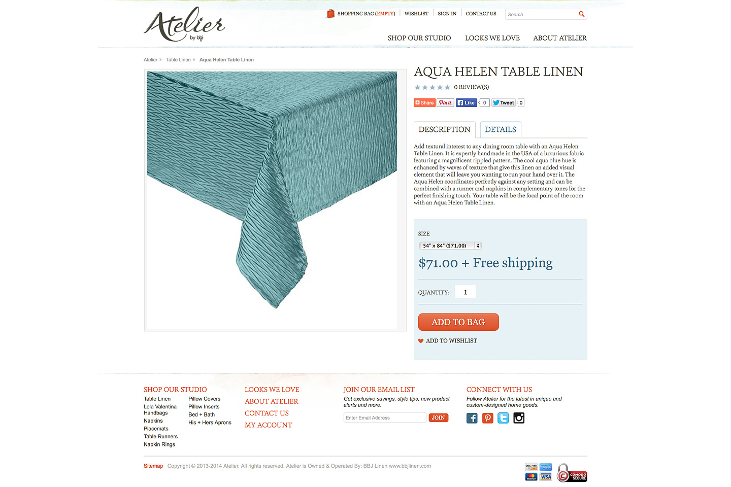 a screen capture of the atelier by bbj aqua helen table linen product page, including a large image of the product featured on this page