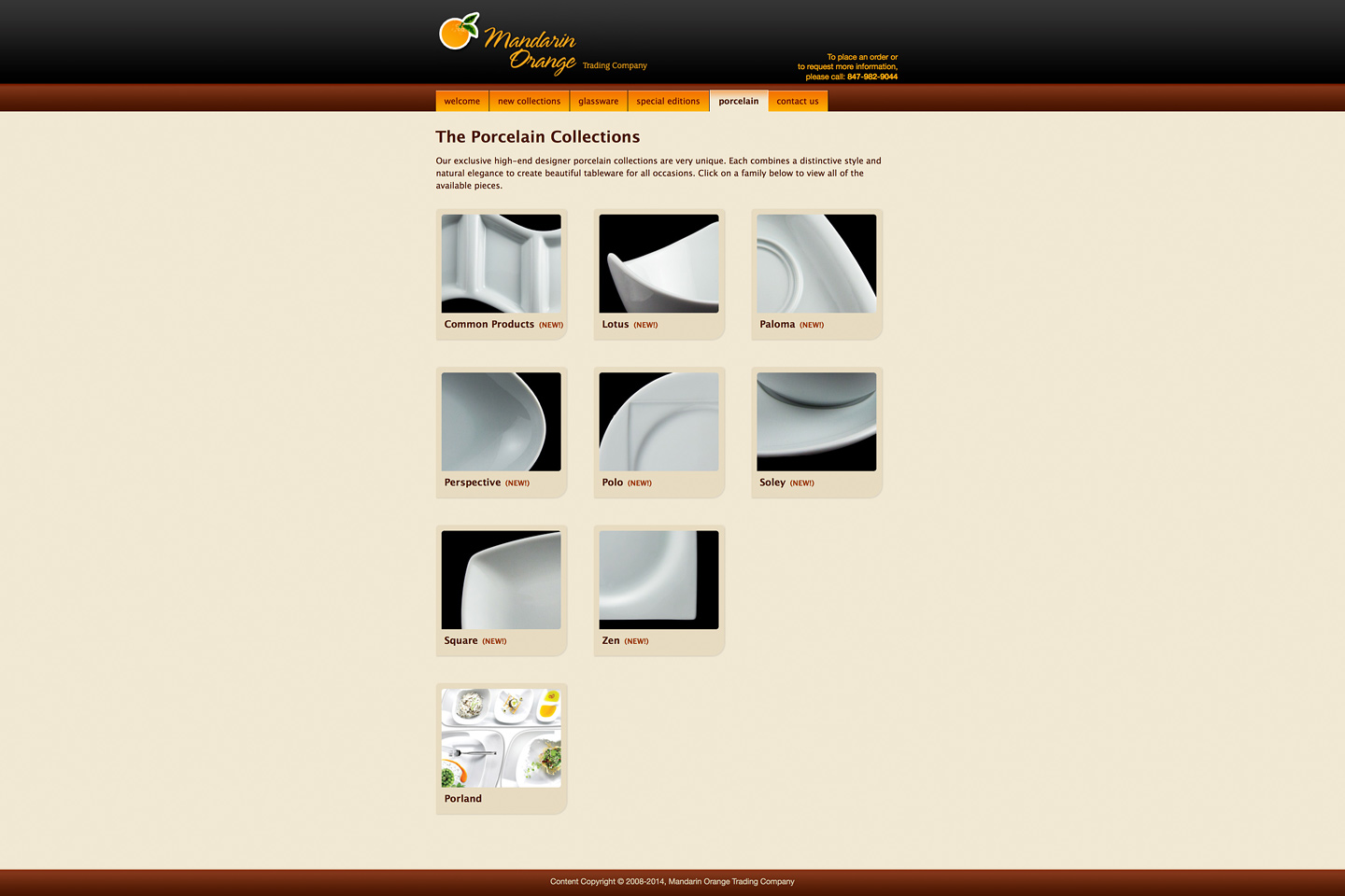 a screen capture of the mandarin orange trading company porcelain collections landing page, featuring thumbnails of various porcelain patterns