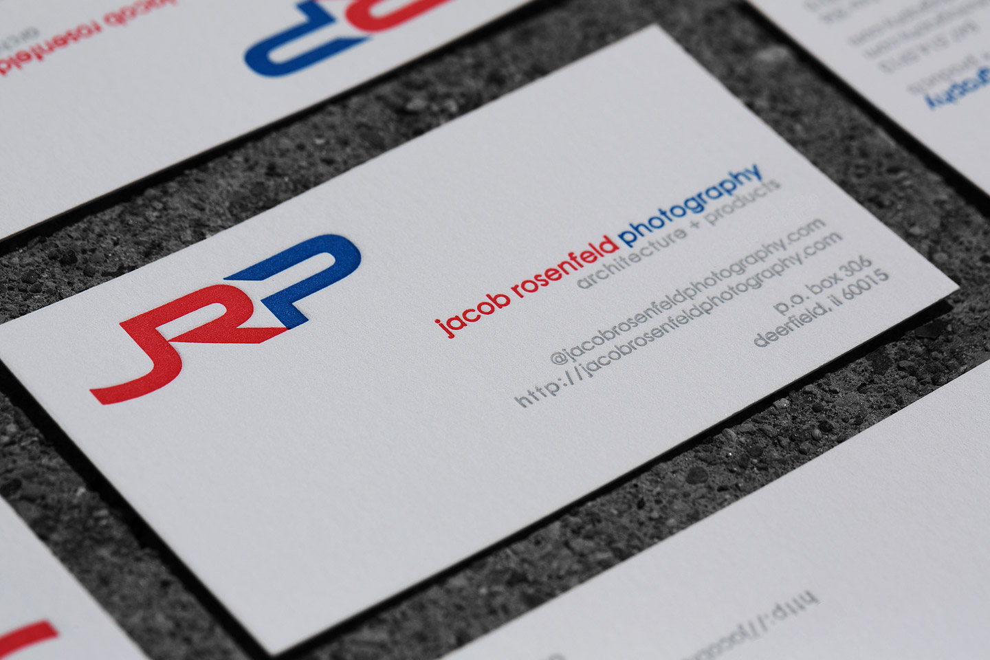 JRP letterpress business card close-up