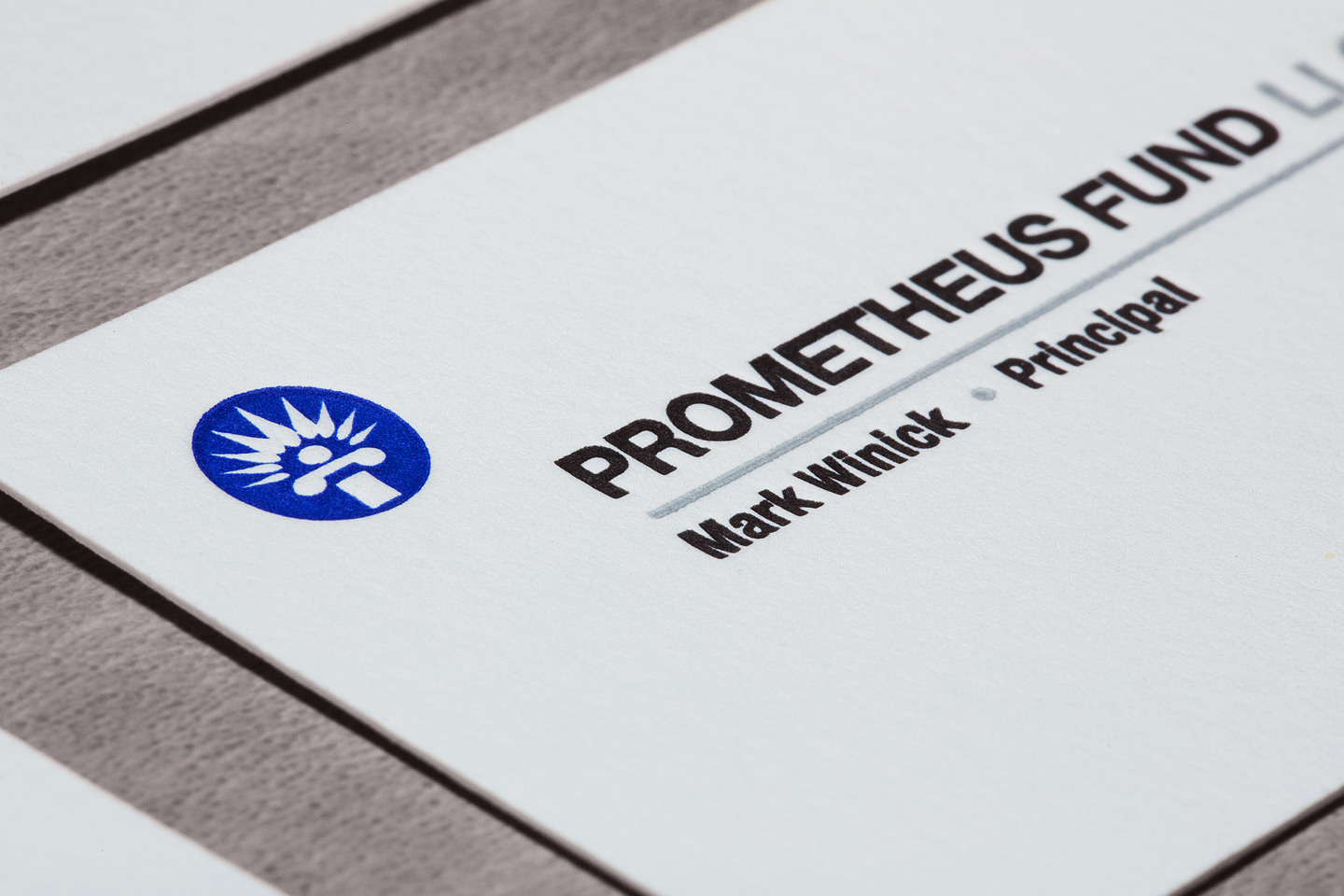 a prometheus fund llc letterpress business card close-up