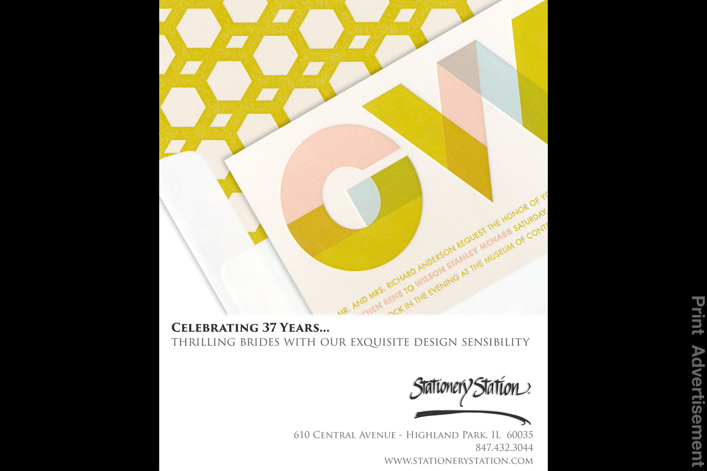 a sample stationery station print advertisement for chicago brides magazine, designed by 4d, inc