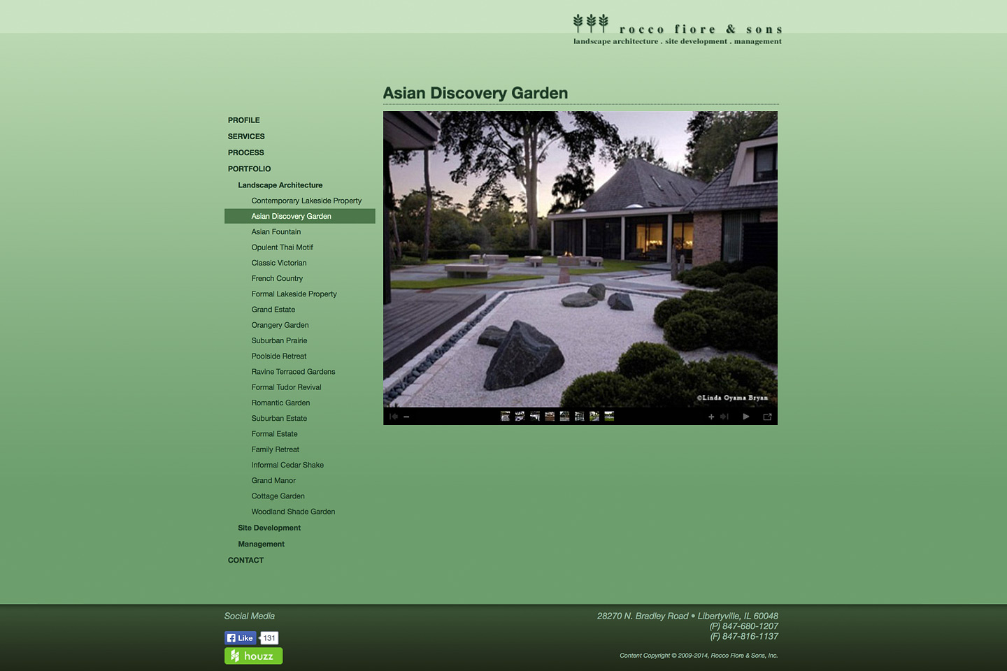 a screen capture of a rocco fiore & sons web photo gallery designed by 4d, inc, featuring a project called asian discovery garden