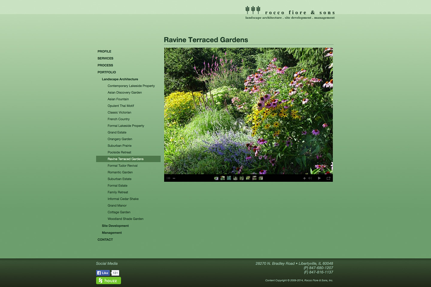 a screen capture of a rocco fiore & sons web photo gallery designed by 4d, inc, featuring a project called ravine terraced gardens
