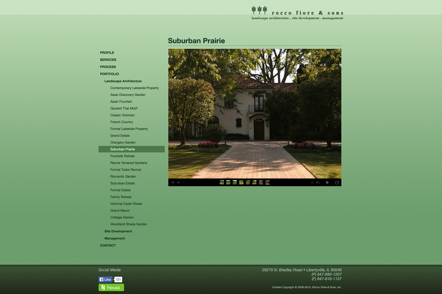 a screen capture of a rocco fiore & sons web photo gallery designed by 4d, inc, featuring a project called suburban prairie