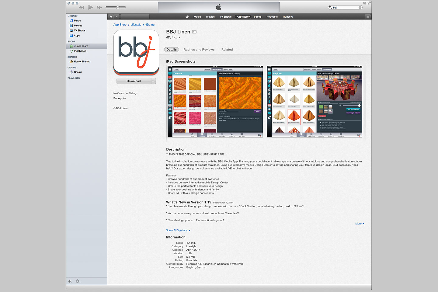 a screen capture of the apple itunes appstore, featuring the bbj linen ios ipad app designed developed by 4d, inc.