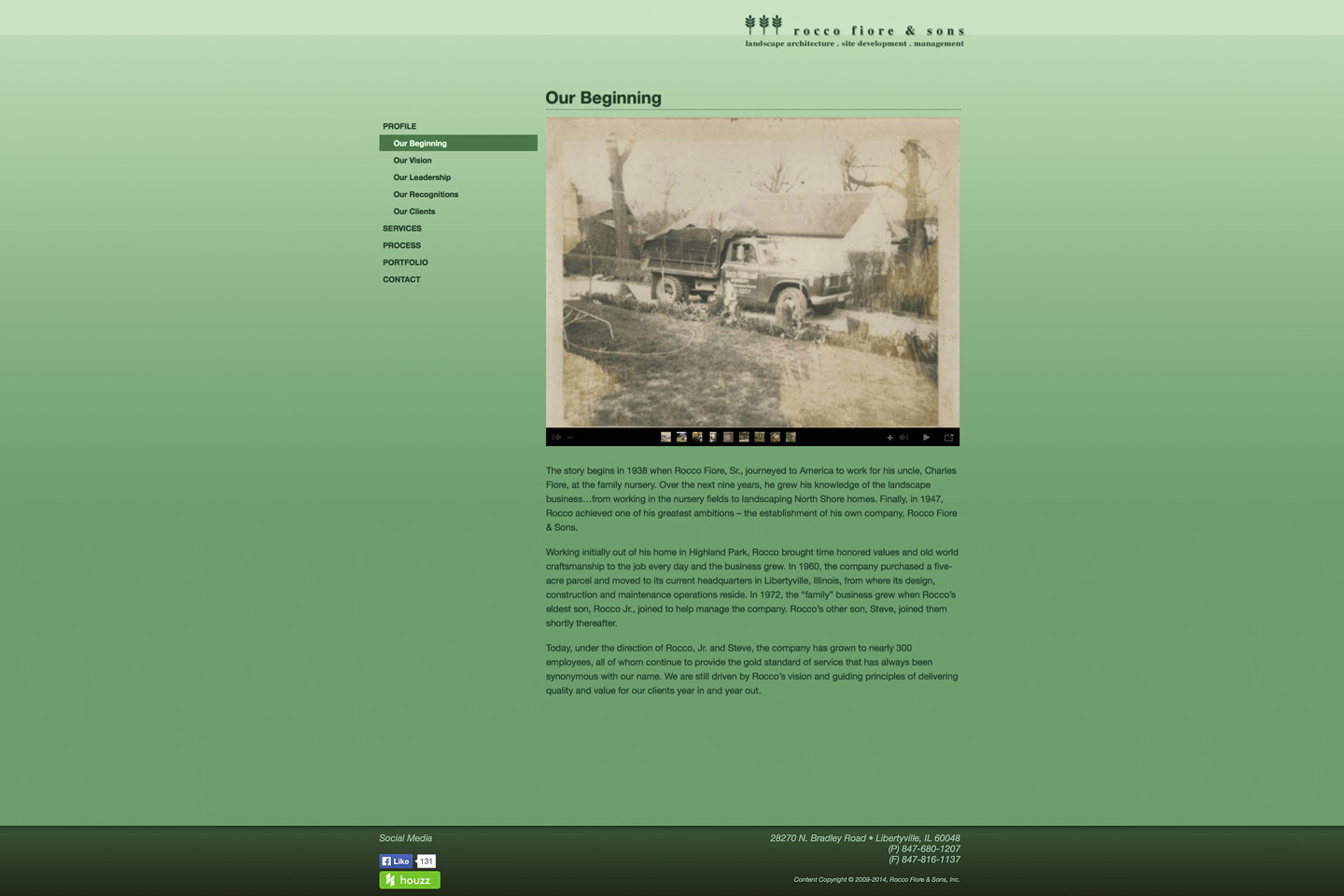 a screen capture of the rocco fiore & sons history web page called our beginnings, designed by 4d, inc, featuring a very old photograph taken when rocco's dad was starting the business