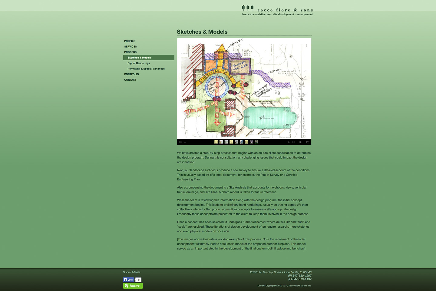 a screen capture of the rocco fiore & sons sketches & models web page designed by 4d, inc, featuring a nice colorful design sketch rendering