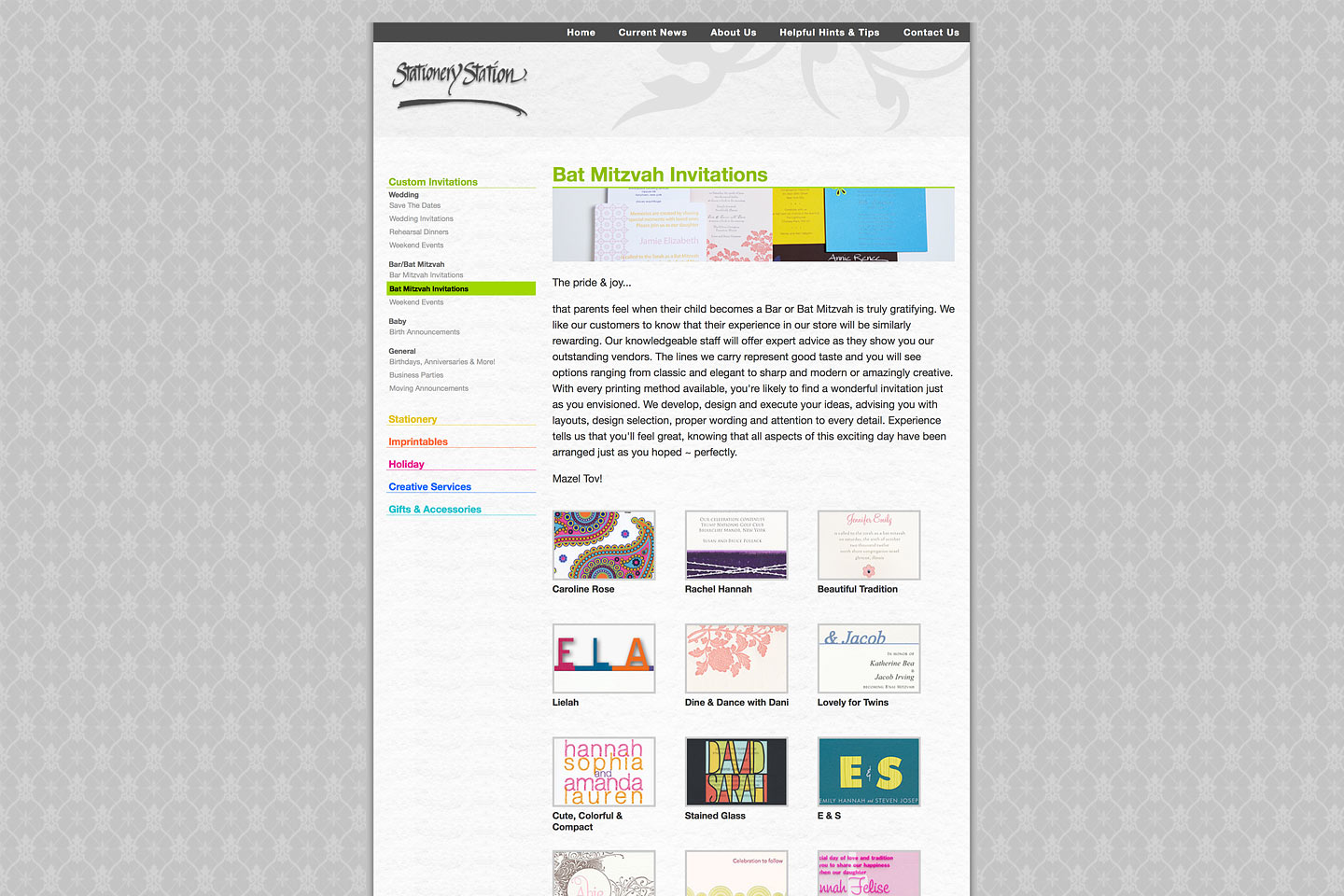 a screen capture of the stationery station bat mitzvah invitations landing page, designed and developed by 4d, inc