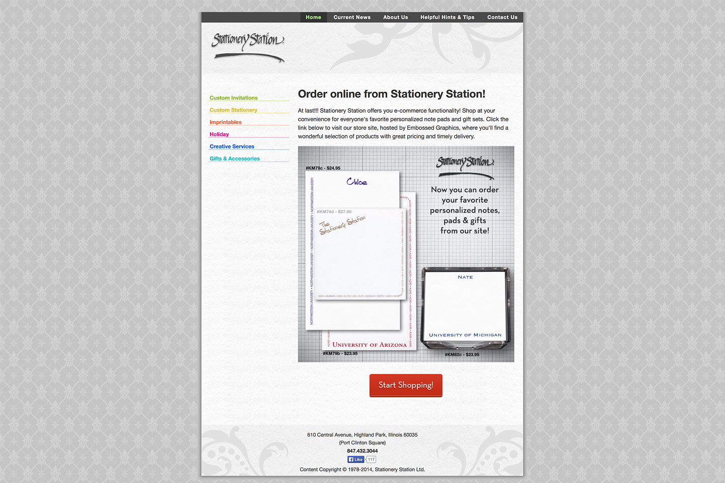 a screen capture of the stationery station homepage, designed and developed by 4d, inc, featuring the ability to order custom pads and notes