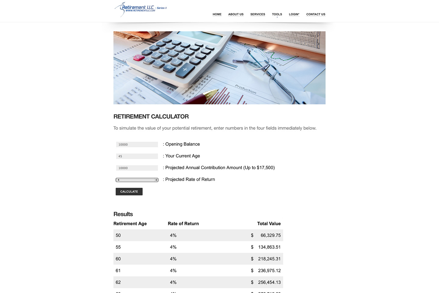 a screen capture of the retirementllc.com retirement calculator, illustrating a sample set of calculator results