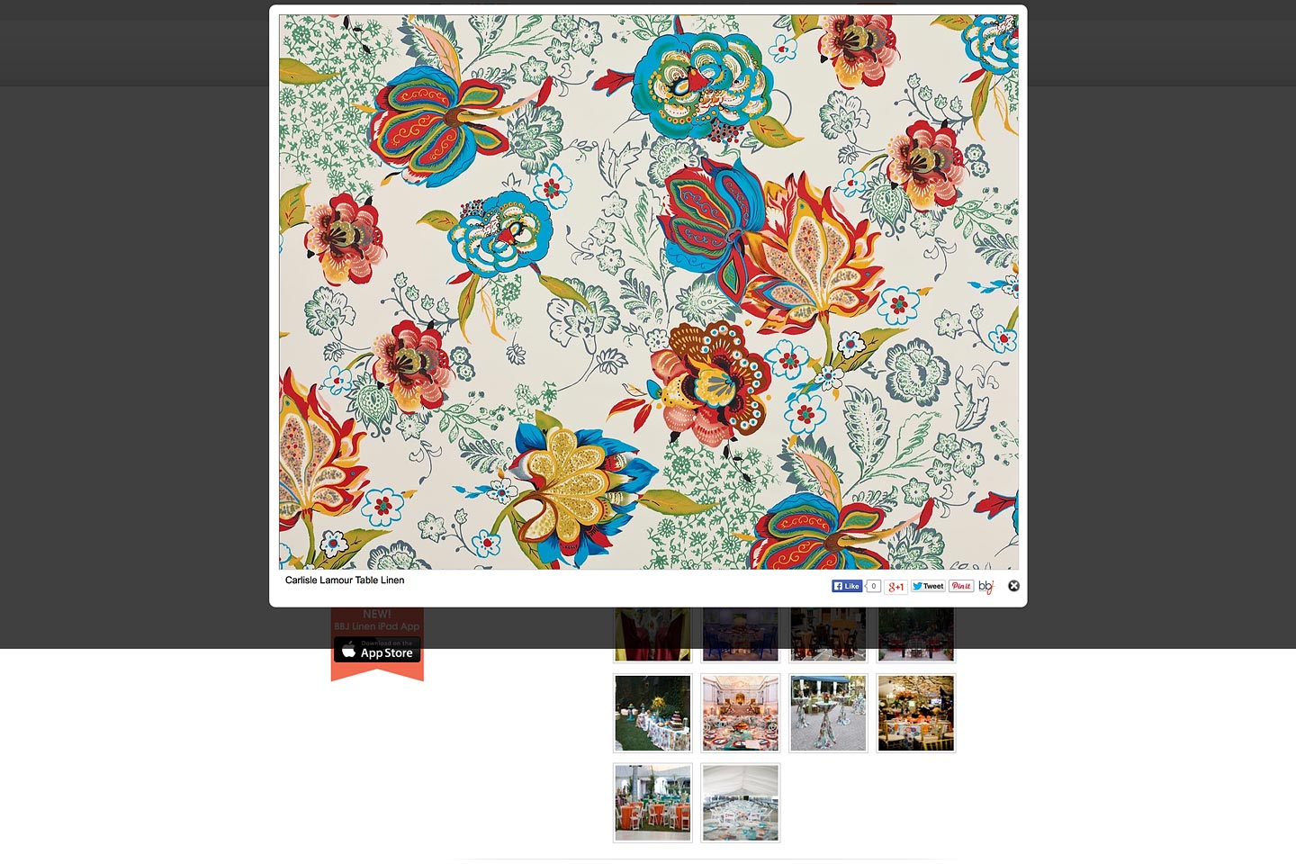 a screen capture of a giant enlargement of the carlisle lamour table linen swatch on the bbjlinen.com website