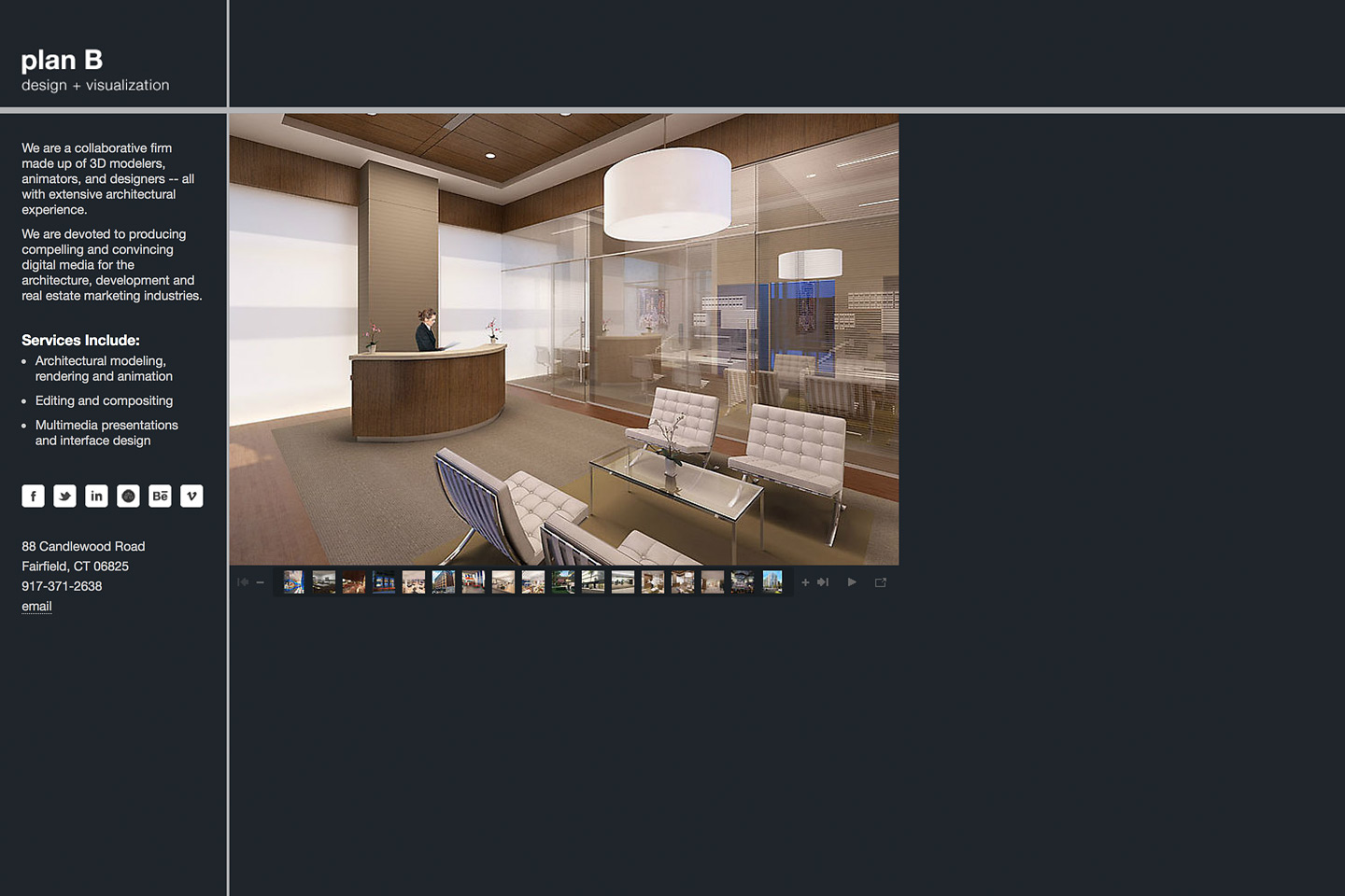 a screen capture of the planbdesign.net website featuring a rendering of an interior reception area of the 330 madison ave citibank citigold