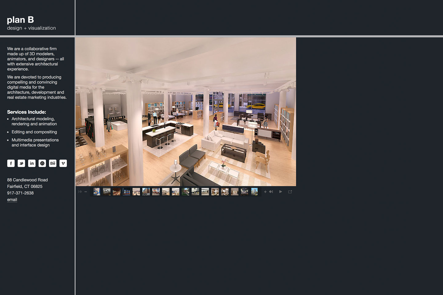 a screen capture of the planbdesign.net website featuring a rendering of a retail store simulation in a vacant retail space, rendered for purposes of attracting a new lease tenant