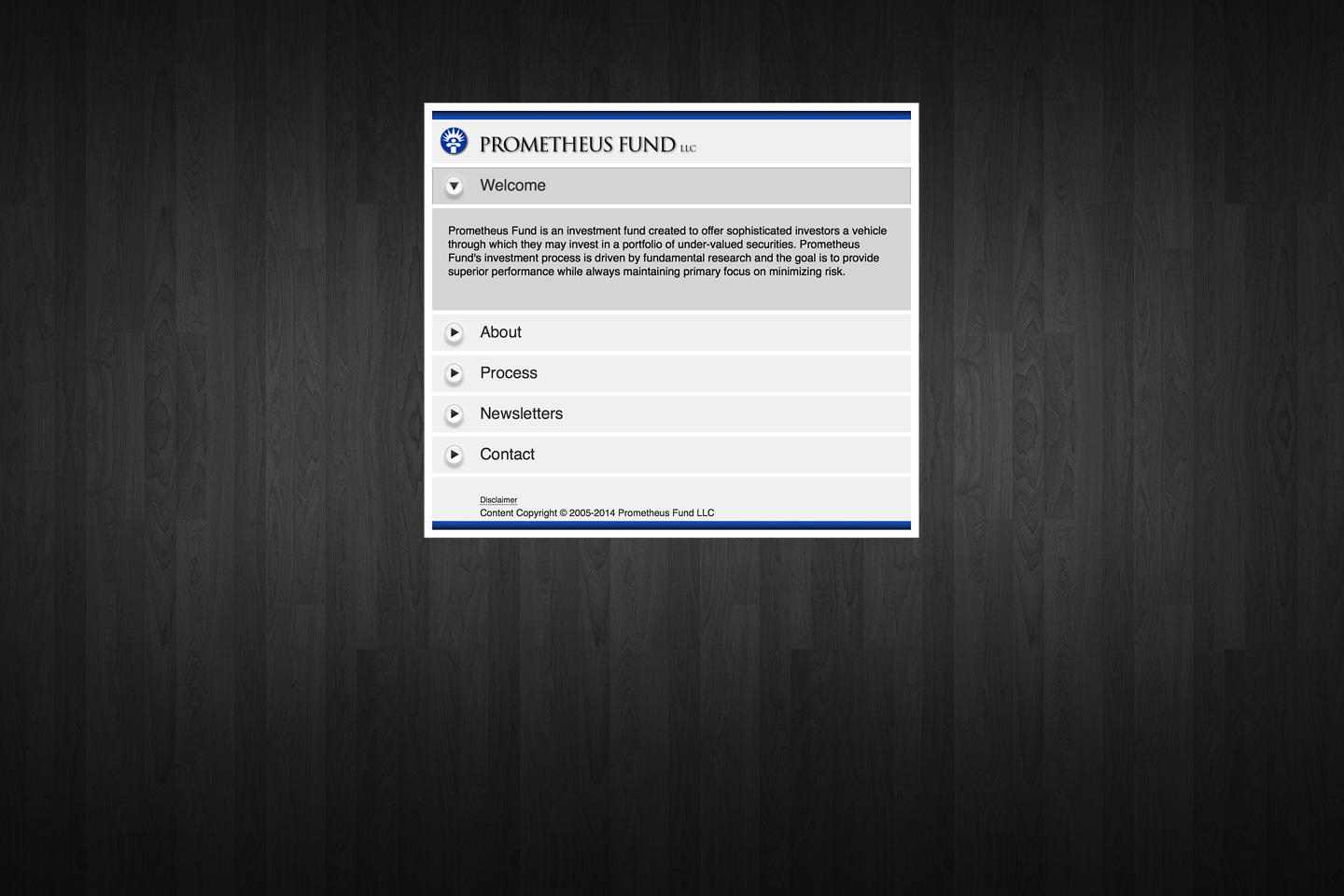 a screen capture of the prometheusfund.com website featuring the welcome page