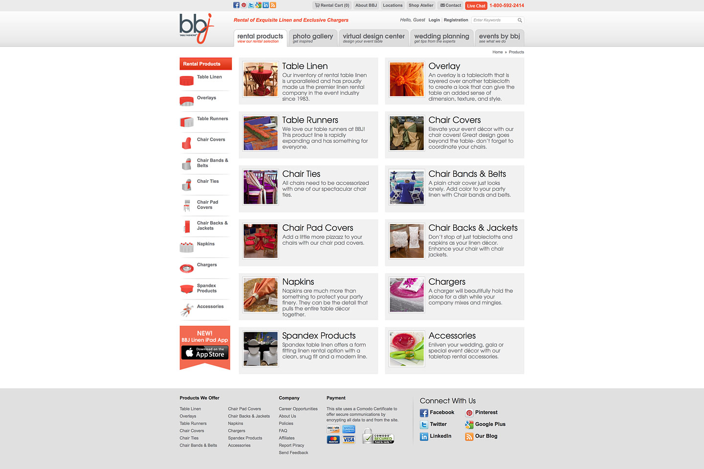 a screen capture of the bbjlinen.com rental products landing page, featuring thumbnail images for each product category