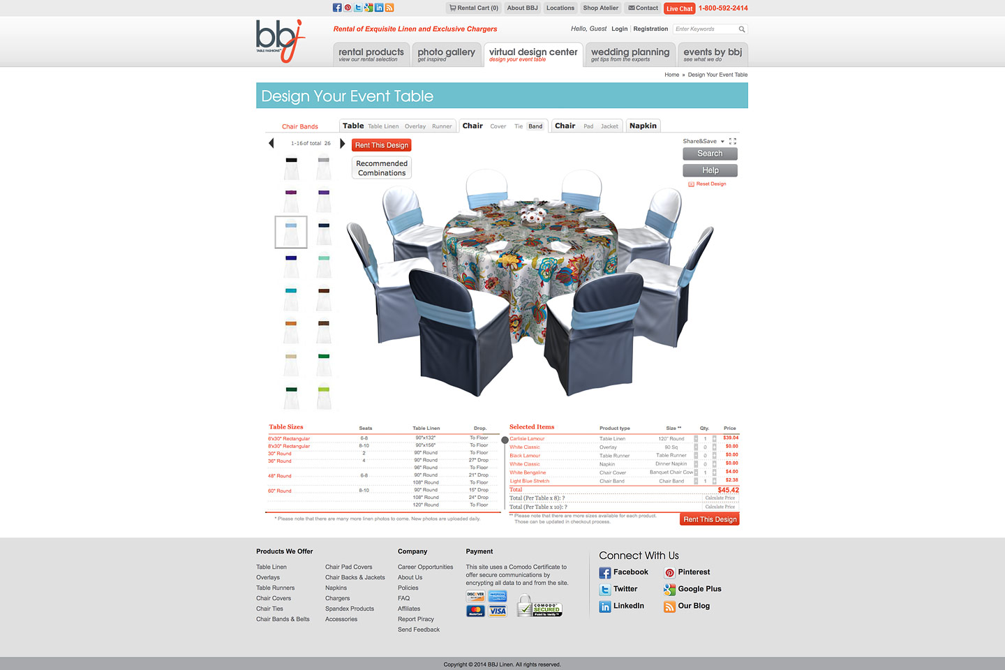 a screen capture of the bbjlinen.com virtual design center, where users can mix and match linens for a custom decorated event table and chairs
