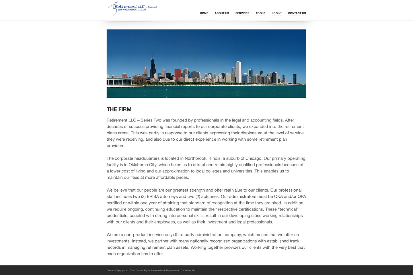 a screen capture of the retirementllc.com about us the firm page