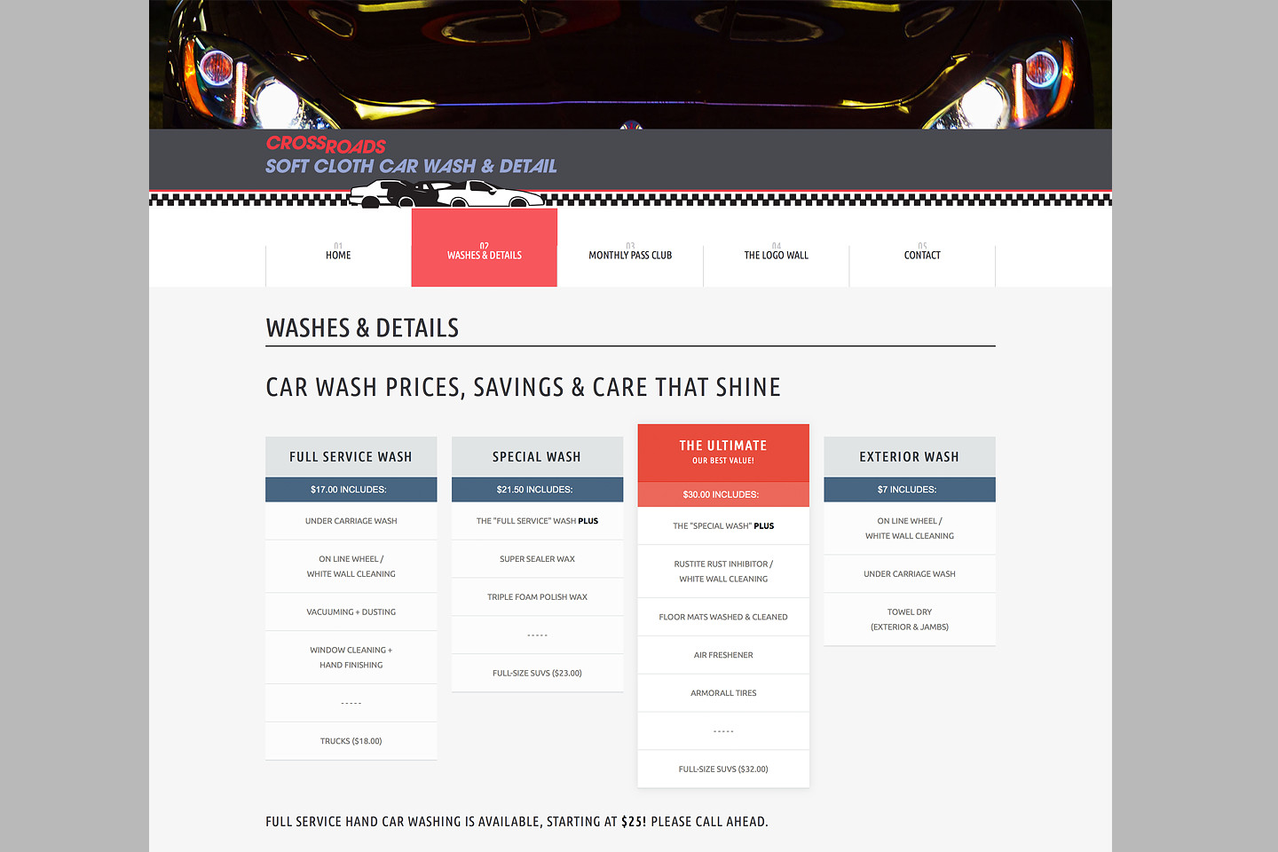 crossroads car wash responsive web design pricing tables by 4d inc