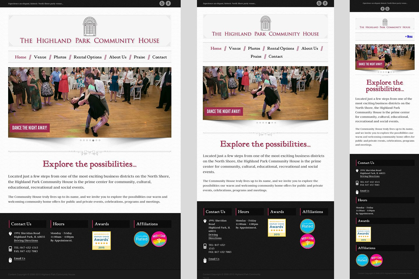 highland park community house sample web page layout showing responsive design by 4d inc
