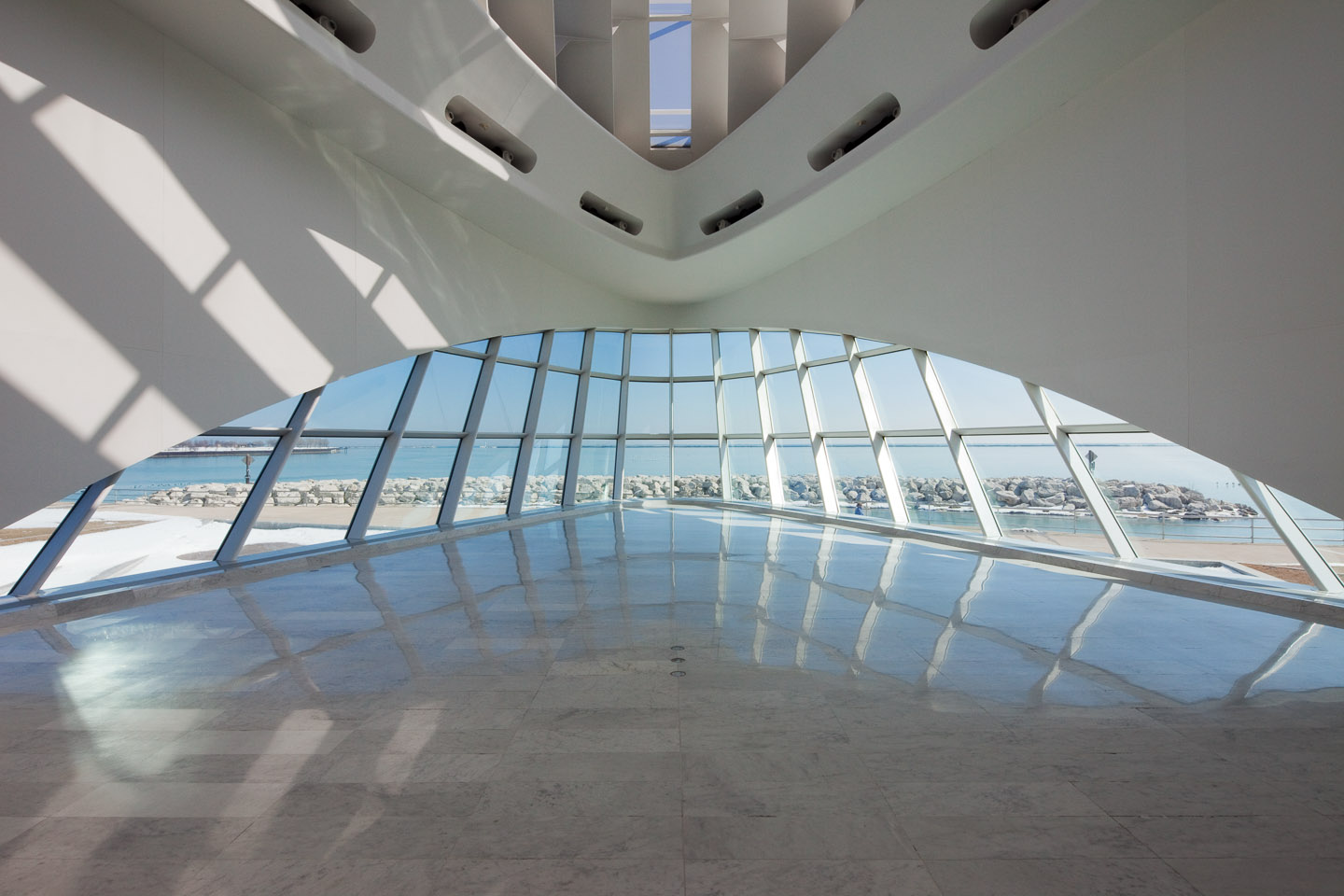 the end of main gallery space in the Milwaukee Art Museum, designed by Santiago Calatrava, photographed by Jacob Rosenfeld