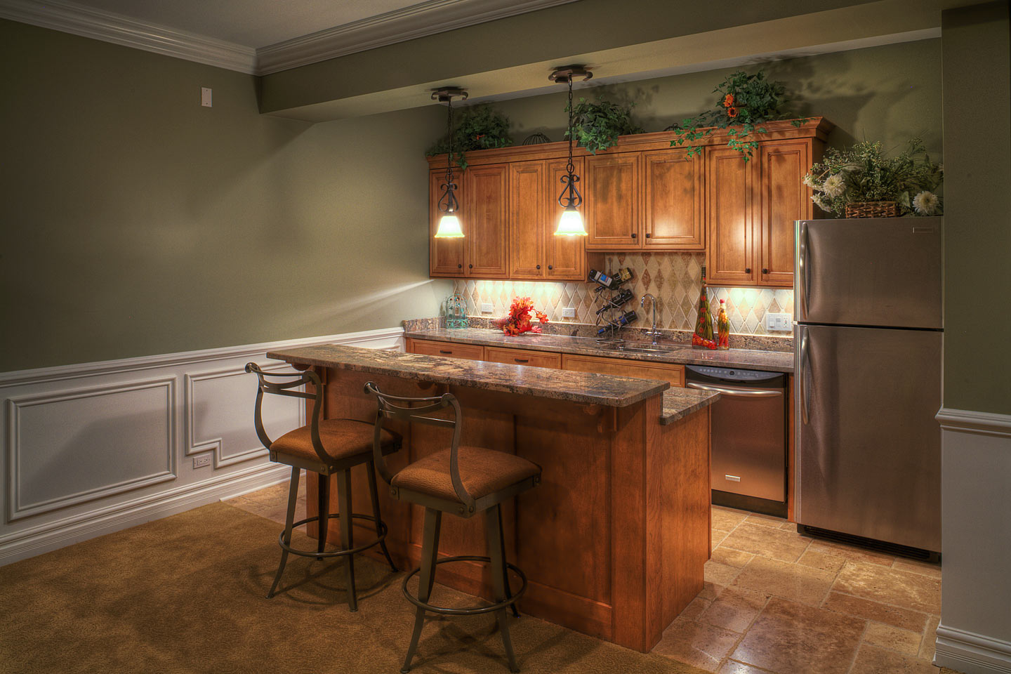 small secondary kitchen located in the basement photographed by Jacob Rosenfeld