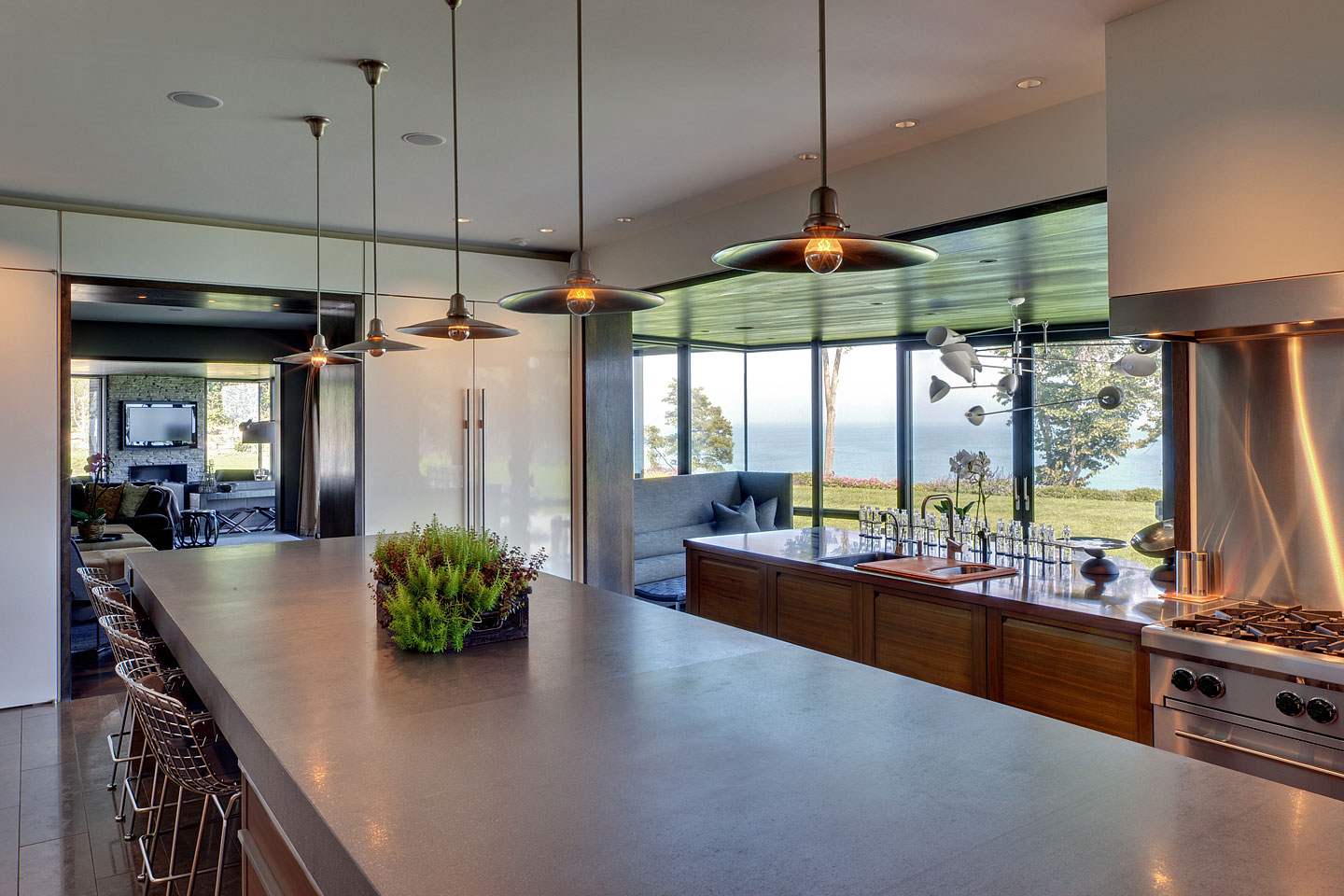 a perspective view (angle 02) of a modern professional kitchen, featuring views of Lake Michigan, photographed by Jacob Rosenfeld