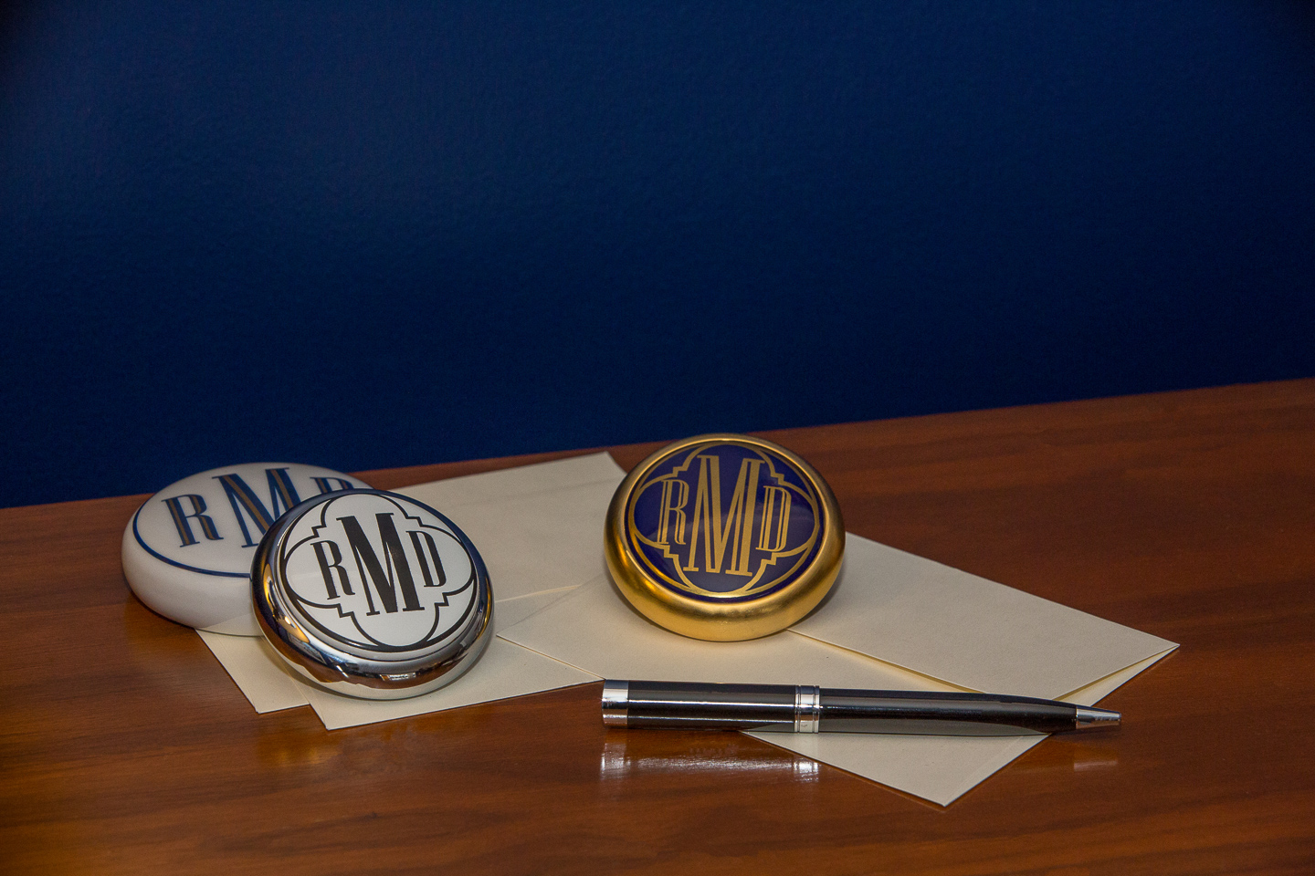 Monogrammed paperweights