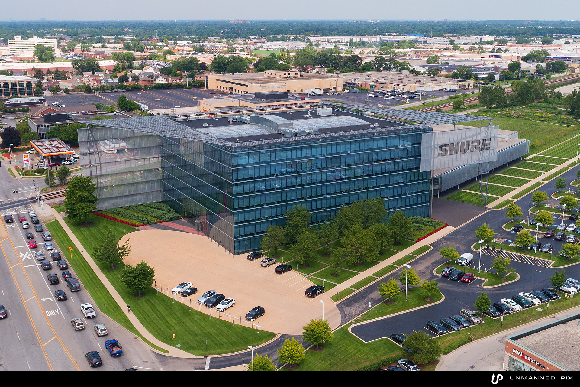 aerial view of Shure building, facing north west, photographed by jacob rosenfeld with unmannedpix.com