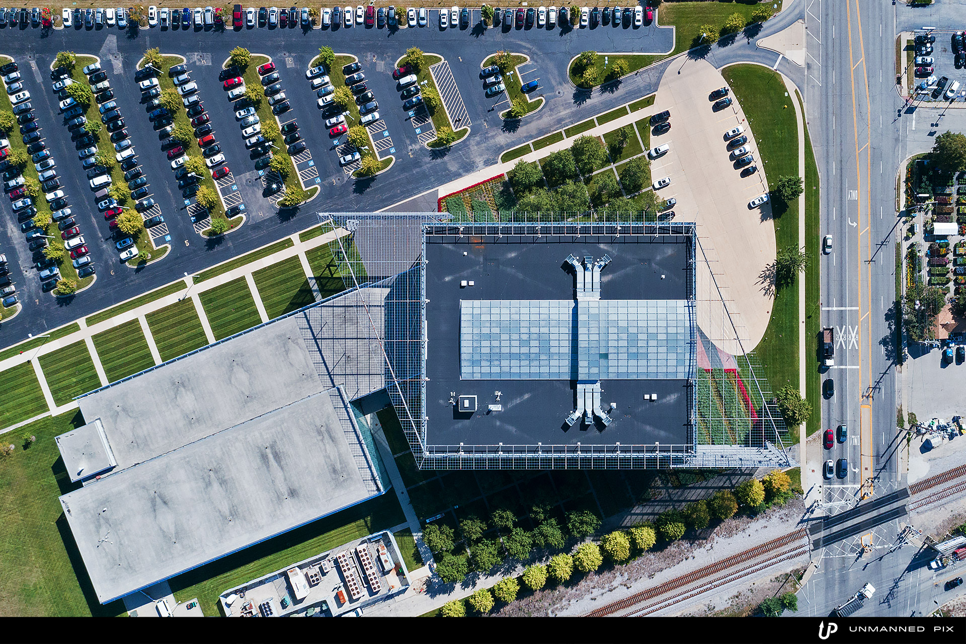 aerial top down view of Shure building, photographed by jacob rosenfeld with unmannedpix.com