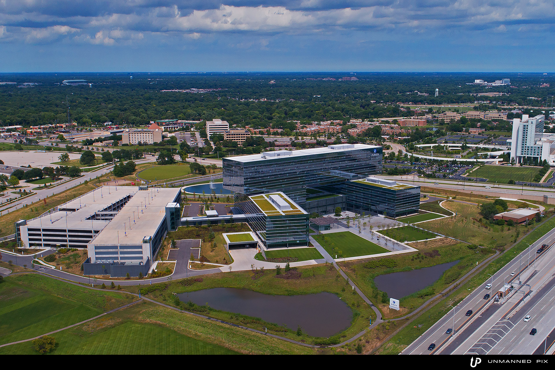 aerial view of the zurich north america headquarters, facing north east, photographed by jacob rosenfeld for unmannedpix.com